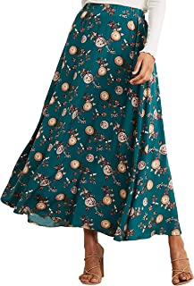 Floral Printed Flared A-Line Maxi Skirt For Women - Small