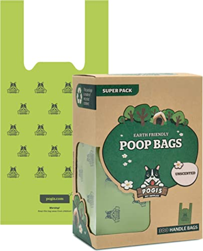 Pogi's Poop Bags - 300 Unscented Bags with Easy-Tie Handles - Earth-Friendly, Leak-Proof Dog Waste Bags