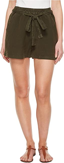 Tie Front Linen Shorts in Deep Depths