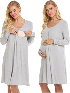 Nursing Nightgown Nightdress Hospital Gown Delivery/Labor/Maternity/Pregnancy Soft Breastfeeding Dress