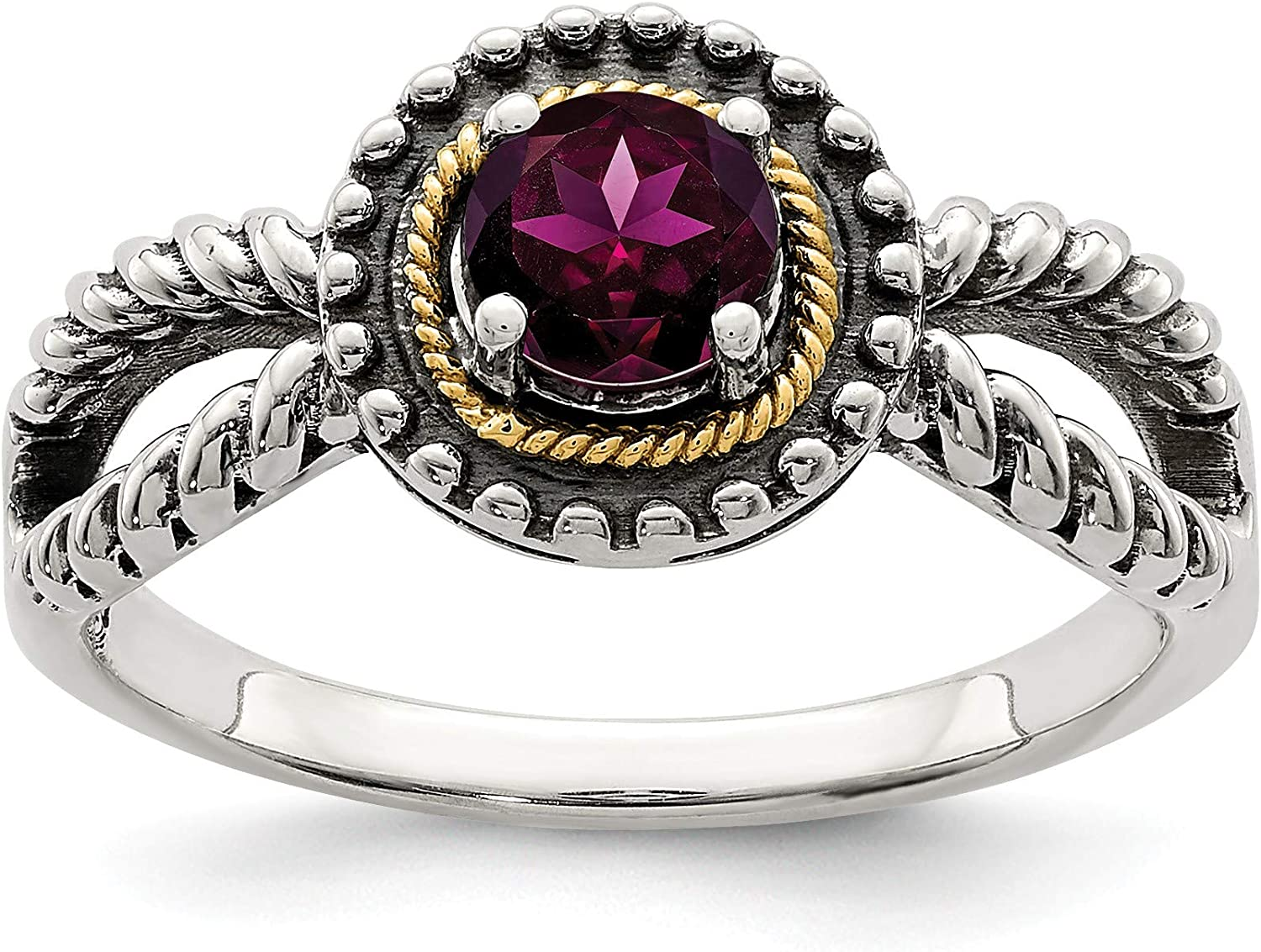 Sterling Silver 40% OFF Cheap Sale w 14K Accent Rhodolite Garnet Size: Ring Ranking TOP19 14 8