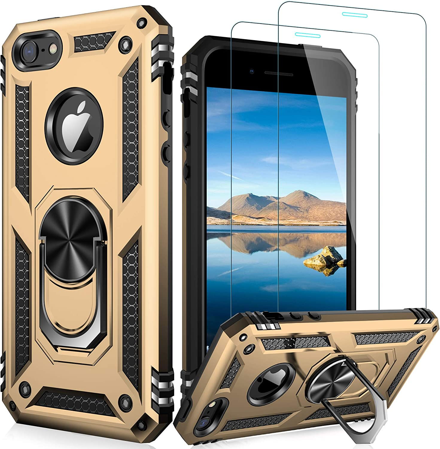 LUMARKE iPhone SE Case(2016),iPhone 5s Case,iPhone 5 Case with Tempered Glass Sreen Protector,Pass 16ft Drop Test Military Grade Cover Protective Phone Case for iPhone 5/5s/SE 2016 Gold