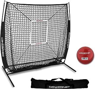 PowerNet 5x5 Practice Net + Strike Zone + Weighted Training Ball Bundle | Baseball Softball Coaching Aid | Compact Lightwe...