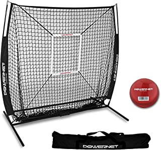 PowerNet 5x5 Practice Net + Strike Zone + Weighted Training Ball Bundle   Baseball Softball Coaching Aid   Compact Lightweight Ultra Portable   Team Color   Batting Screen   Pitching Drills