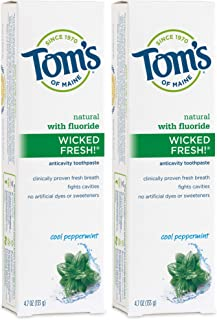 Tom's of Maine Natural Wicked Fresh Fluoride Toothpaste Cool Peppermint 4.70 oz (Pack of 2)