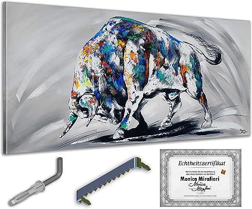 Monica Mirafiori I Gemälde Bullock I 140x70cm   XXL Leinwandbild handgemalt   Acrylgemälde auf Leinwand   Sehr großes Acrylbild auf Keilrahmen