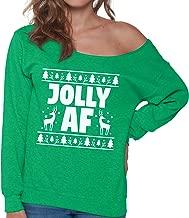 Pekatees Festive AF Off Shoulder Sweatshirt Lit AF Off Shoulder Top Women Holiday Off The Shoulder Sweater Women