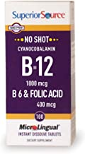 Superior Source No Shot Vitamin B12 Cyanocobalamin 1000 mcg Sublingual - B6 - Folic Acid - Instant Dissolve Tablets - B12 Supplement 100 Count