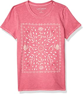 Lucky Brand Women's Short Sleeve Crew Neck Framed Bandana Tee