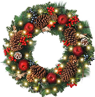 WANNA-CUL Pre-Lit 24 Inch Christmas Wreath for Front Door Farmhouse Christmas Door Wreath Decoration with Red Apple,Pine Cone