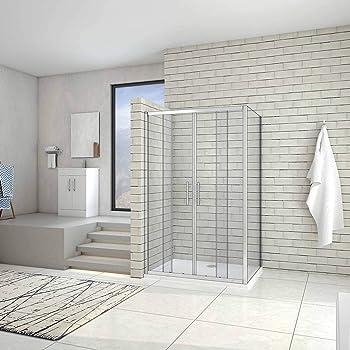 Idralite Mampara de Ducha Rectangular 70x120 CM H185 Blanco Vidrio Serigrafiado Mod. Blanc: Amazon.es: Hogar