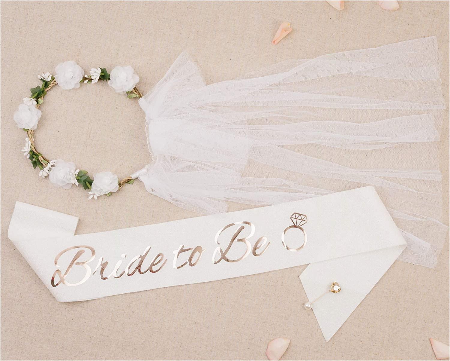 PapaKit Premium Bride to Be Party Sash, Floral Veil & Jewelry Pin Set, Glitter Sparkling Pearl White   Bachelorette Bridal Shower Engagement Wedding Party Favor Gift Decoration Supply