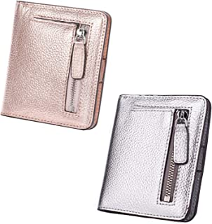 AINIMOER Women Leather Wallet RFID Blocking Small Mini Bifold Zipper Pocket Card Case Champaign Gold and Silver Bundle