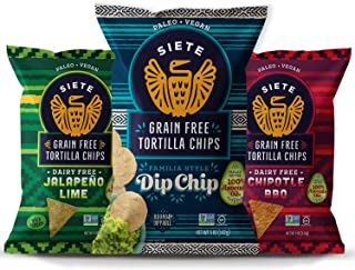 Siete New Flavors Sample Pack | Dip Chip, Chipotle BBQ, Jalapeno Lime | (6-Pack) - Grain Free, Dairy Free, Paleo, Vegan, N...