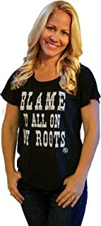 Graphic tees for Women Blame it All on My Roots Black Dolman