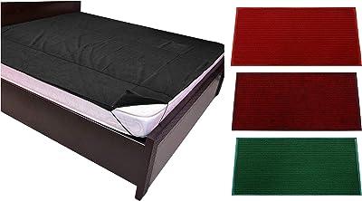 """Kuber Industries Microfiber Anti Slip 3 Pieces Door Mat 14""""X21""""(Red, Maroon & Green) -CTLTC11444 & PVC Waterproof King Size Mattress Protector 78""""X72"""" (Black), CTKTC013918 Combo"""