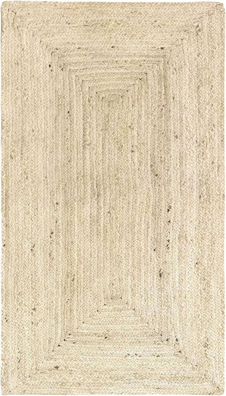 HAMID Jute Teppich - Alhambra Teppich 100% Naturfaser de Jute - Farbe Wei Creme (200x300cm)
