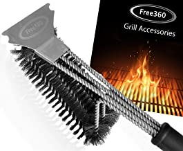 free360 Grill Brush and Scraper-Stainless Steel Bristles Safe BBQ Cleaning 18 Inches Long 3 in 1 Grill Cleaning