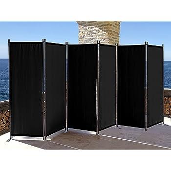 QUICK STAR Paravent 340 x 165 cm Tejido Divisor de habitación Jardín 6-Partición Pared de separación Plegable Balcón Pantalla de privacidad Negro: Amazon.es: Hogar