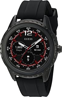 Stainless Steel Touchscreen Watch with Silicone Strap, Black, 20 (Model: C1002M1)
