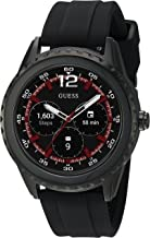 GUESS Stainless Steel Touchscreen Watch with Silicone Strap, Black, 20 (Model: C1002M1)