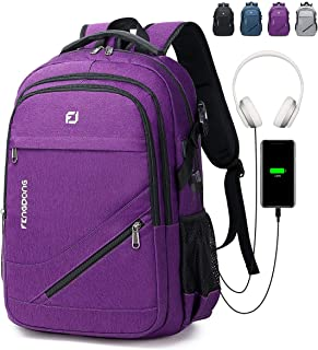 FENGDONG Durable Travel Laptop Backpack with USB Charging Port and Headset Port for Men & Women Fits 17.3 Inch Laptop and Notebook Purple