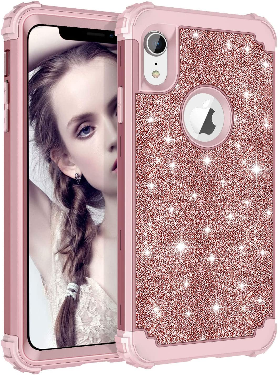 LONTECT Compatible iPhone XR 2018 Case Glitter Sparkle Bling Heavy Duty Hybrid Sturdy High Impact Shockproof Protective Cover Case for Apple iPhone XR 6.1 Display, Shiny Rose Gold