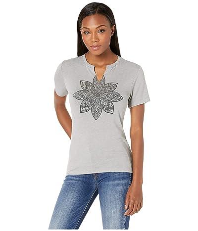 Life is Good Mandala Bloom Favorite Split-Neck Tee (Slate Gray) Women