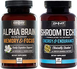 ONNIT Alpha Brain + Shroom Tech Sport Stack - Designed to optimize Mental Focus and Athletic Performance