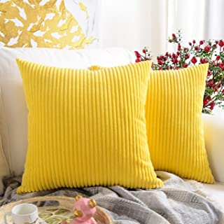 MERNETTE Pack of 2, Corduroy Soft Decorative Square Throw Pillow Cover Cushion Covers Pillowcase, Home Decor Decorations for Sofa Couch Bed Chair 18x18 Inch/45x45 cm (Striped Lemon Yellow)