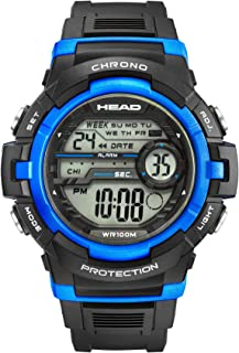 Rally Men's Digital Sport Watch 10ATM Waterproof and Shock Resistant in Black and Blue.World Time Zones Alarm and Timer, Stopwatch, Night Light. Designed in Italy