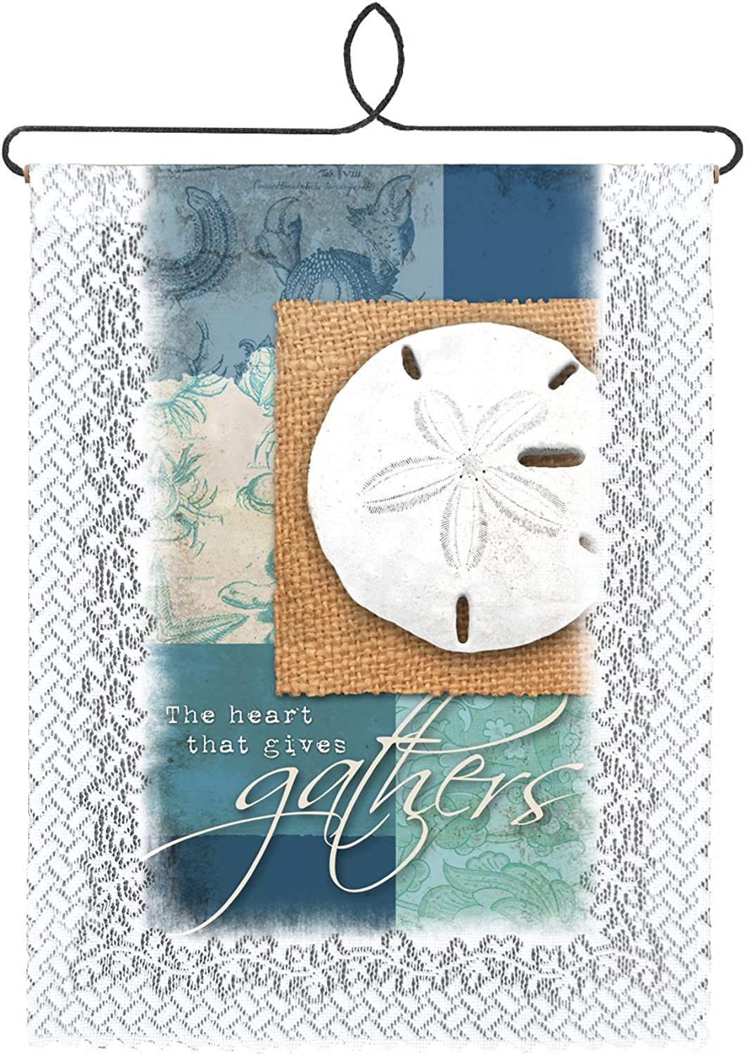 Heritage Lace The Heart That Gives Wall Hanging, White, 12 by 20Inch