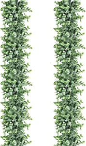 2 Pack Eucalyptus Garland 6 Ft Artificial Greenery Fall Garland Fake Ivy Vines Wedding Backdrop Arch Wall Decor Hanging Plants for Home Wedding Festival Party Table Mantle Decor