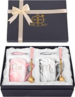 Theky Mr And Mrs Mugs Set Engagement Gifts For Couples | Wedding Bridal Shower Gifts For Bride - Unique Anniversary Married Couples Ceramic Marble Coffee Cups 14oz