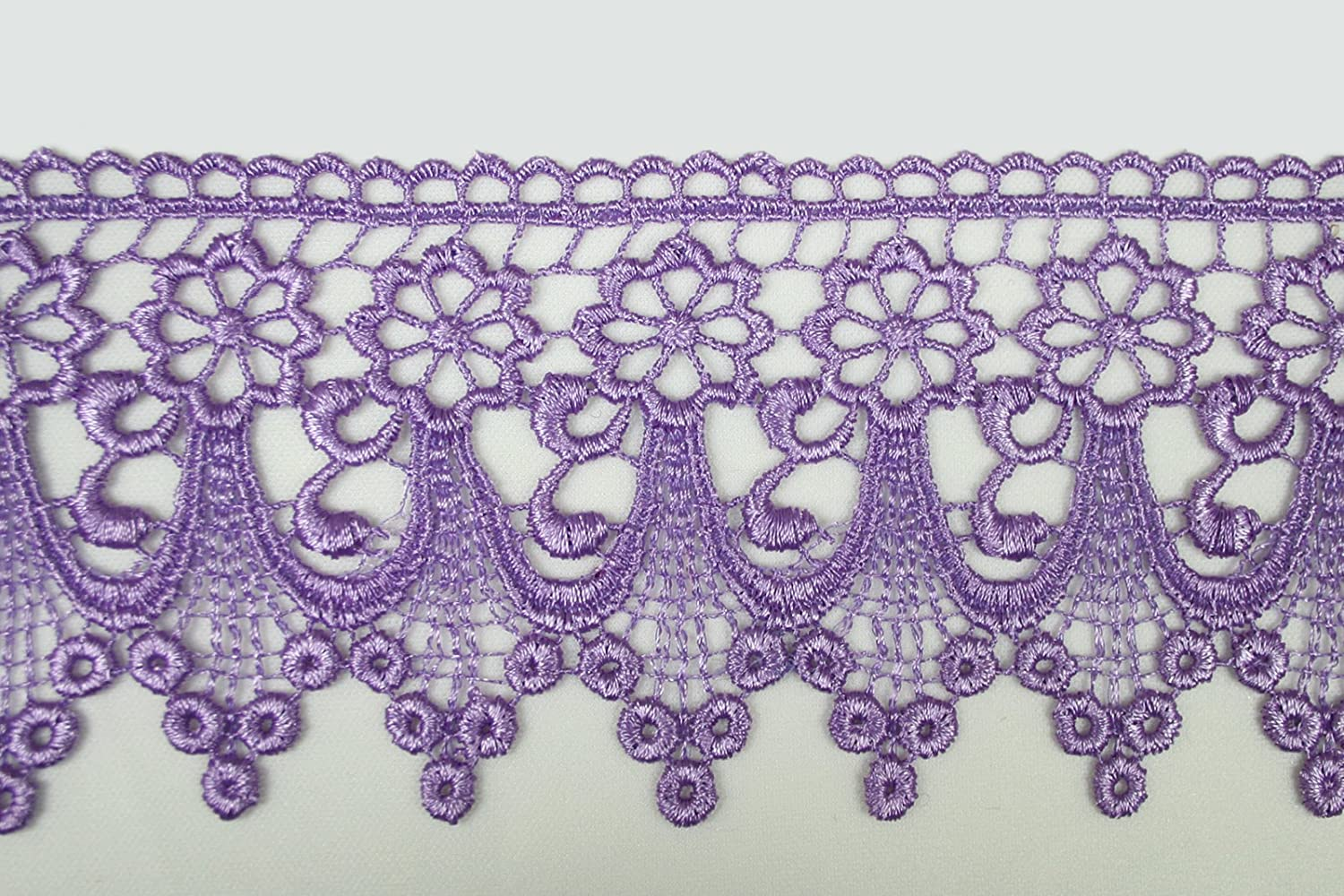 Lavender Light Crocheted Necklace with Venetian and Various Shape Beads