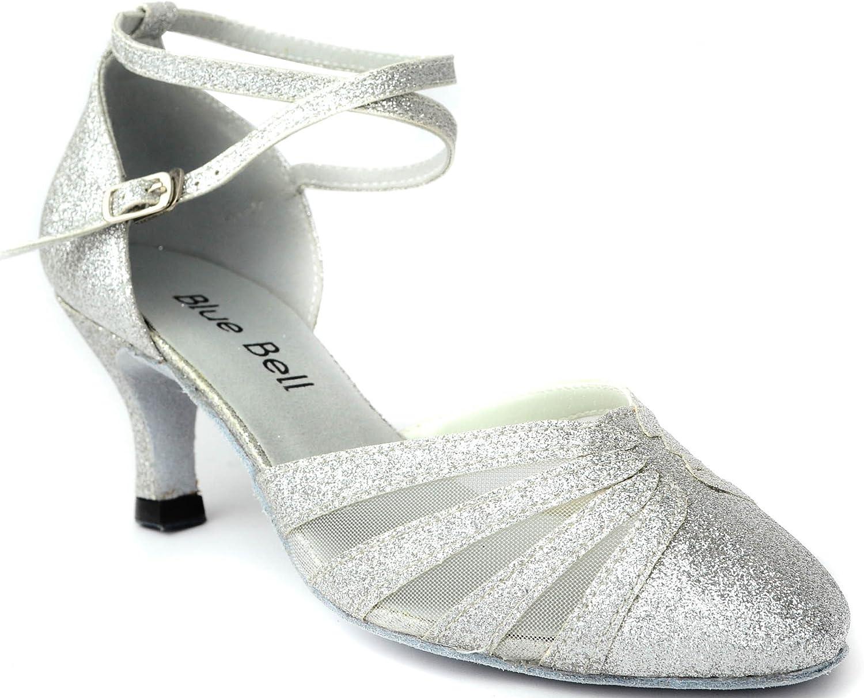 BlueBell Blue Bell Shoes Handmade Women's Ballroom Wedding Competition Dance Shoes- Cindy 2.5