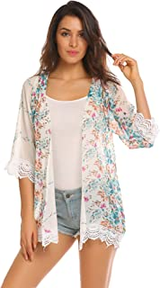 935880d84a SimpleFun Women Chiffon Floral Swimsuits Cover Up Kimono Cardigan Lace  Patchwork Blouse Tops