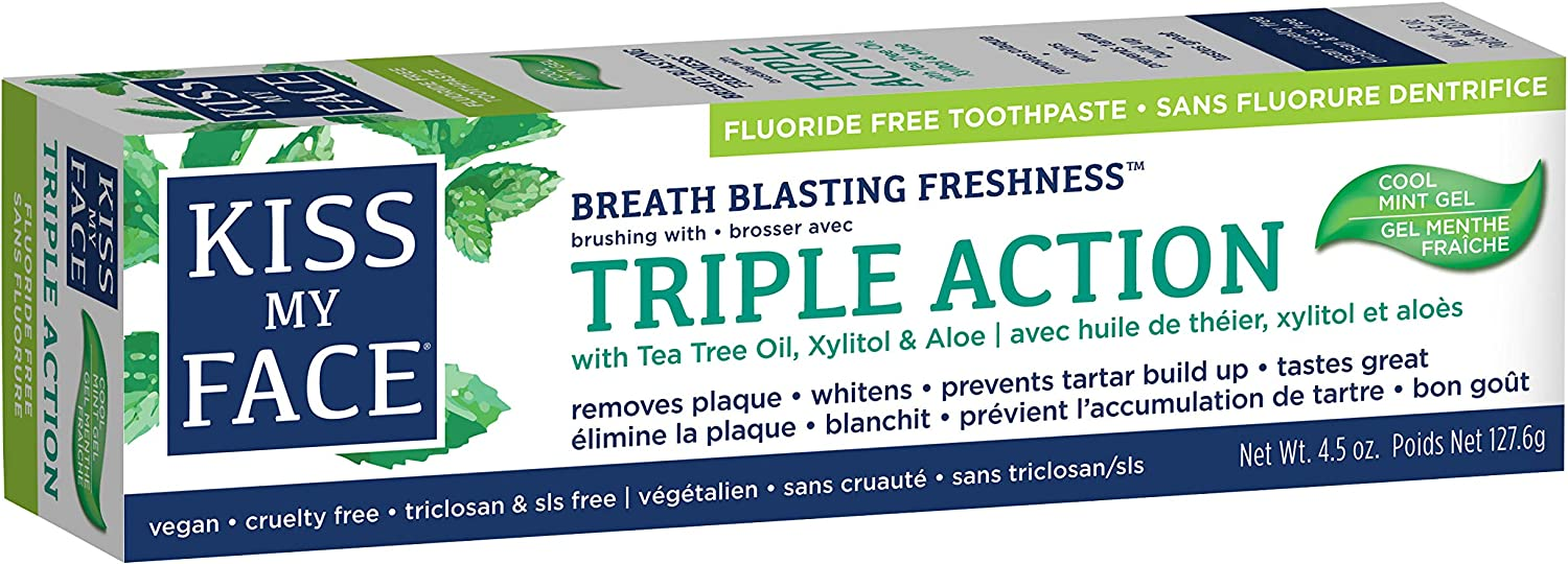 Kiss My Face Triple Action Gel Toothpaste, Fluoride Free, 4.5 Ounce, 1 Count