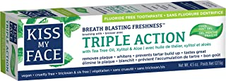 Kiss My Face Triple Action Gel Toothpaste, Fluoride Free, 4.5 Ounce