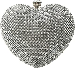 silver heart shaped clutch bag