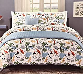 Max Studio Kids Boys 6-pc. Full/Queen Dinosaur Comforter Set with Bonus Quilted Coverlet | 100% Easy Care Polyester