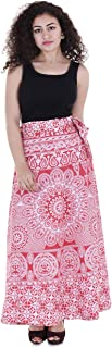 VAIDIKI Women's Cotton Printed Red Wrap Around Skirt