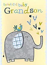 New Baby Boy Grandson pretty Hand-Finished Greeting Card Just To Say