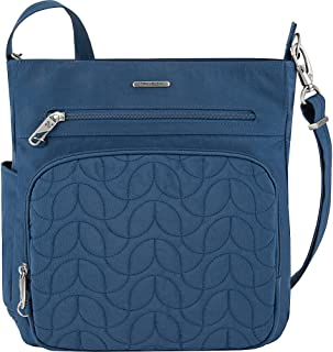 Anti-Theft Quilted North South Bag - Medium Nylon Crossbody for Travel & Everyday - (Ocean/Teal Interior)