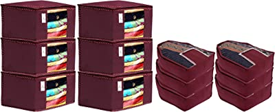 Kuber Industries Non Woven 6 Pieces Saree Cover/Cloth Wardrobe Organizer and 6 Pieces Blouse Cover Combo Set (Maroon)