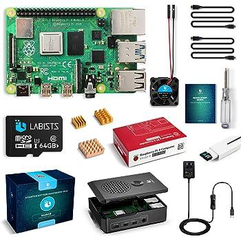 LABISTS Raspberry Pi 4 4B-64GB(技適マーク入)MicroSDHCカード64G/Raspbianシステムプリインストール/カードリーダ /5.1V/3A Type-C スイッチ付電源/MicroHDMI-to-HDMIケーブルライン/三つヒートシンク/簡単に取り付けケース/日本語取扱説明書/24ヶ月保証