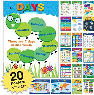 20 Extra Large Educational Posters For Kids Toddlers (24x17 Double Sided English and Spanish) Includes: Alphabet Colors Letters Numbers Shapes Months Days Weather Time Animals Solar System Seasons Map