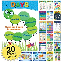 20 Extra Large Educational Posters For Kids Toddlers (24x17 Double Sided English and Spanish) Includes: Alphabet Colors Le...