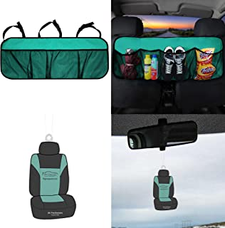 FH Group FH1122 Multi-Pocket Trunk Organizer- Great for Storage, Mint Color w. Free Air Freshener- Fit Most Car, Truck, SUV, or Van
