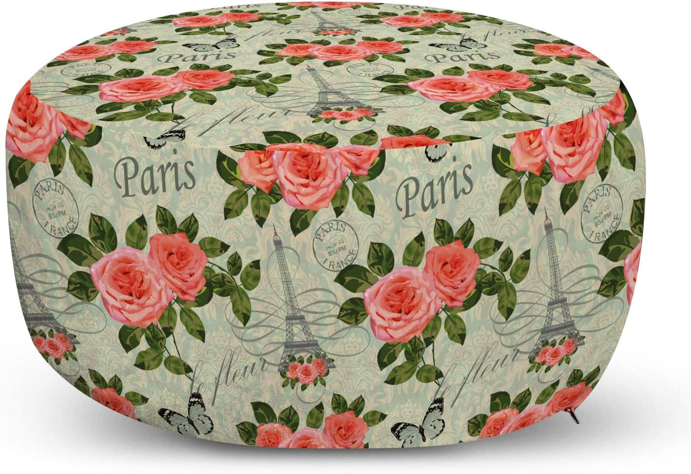 Ambesonne Shabby Gifts Flora Pouf Cover Paris Store w Zipper Lettering with